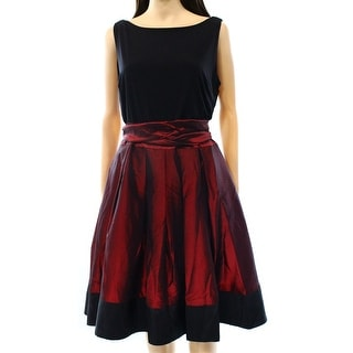 S.L. Fashions NEW Black Red Women's Size 14 Sheath Pleated Dress