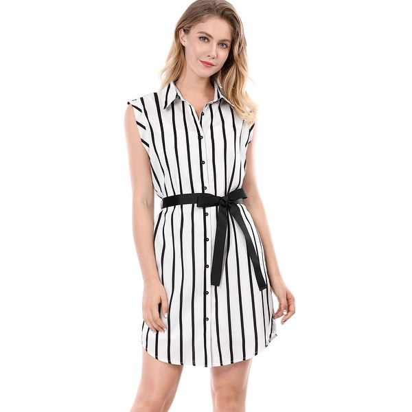 Allegra K Women Striped Sleeveless Belted Shirt Dress w Cami - White