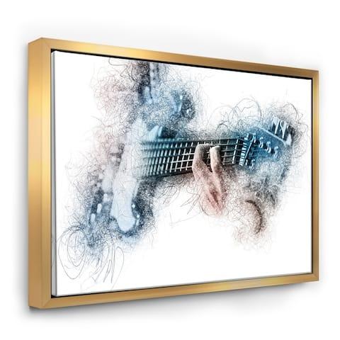 Designart 'Man Playing A Guitar Watercolor' Contemporary Framed Canvas Art Print