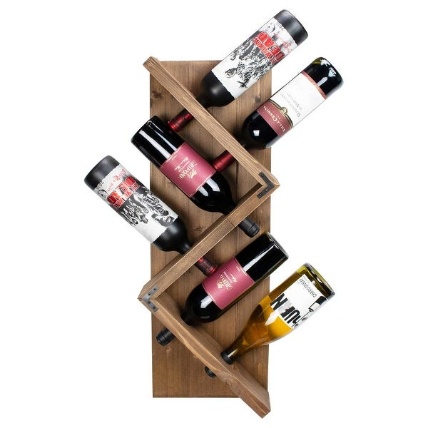 Atterstone Rustic Wine Rack I Unique and Stylish Wall Mounted Wooden Wine Bottle Display Rack I Holds 6 Bottles