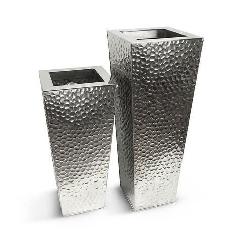Silver Orchid Jugo Stainless Steel Hammered Vase