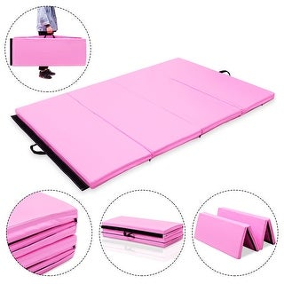 Costwat 4'x6'x2'' Gymnastics Mat PU Thick Folding Panel Gym Fitness Exercise Pink