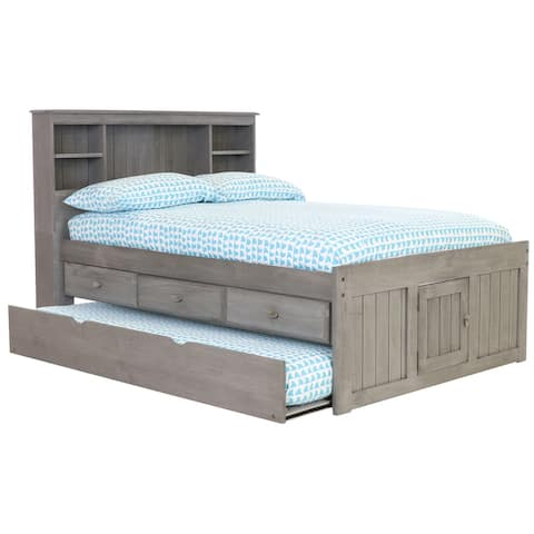 OS Home and Office Furniture Model 3221-K3-KD Solid Pine Full Captains Bookcase Bed with Twin Trundle and 3 drawers