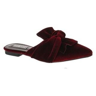 Women's Fashion Velvet Slip On Pointy Toe Bow Decor Slide Slipper Loafer Flats