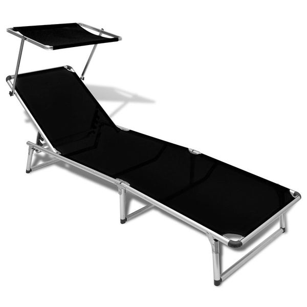 "vidaXL Folding Sun Lounger with Roof Aluminium and Textilene Black - 78"" x 24"" x 10.2"""