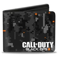Call Of Duty Black Ops Iii Digital Camo Grays Black Orange White Bi Fold Bi-Fold Wallet - One Size Fits most