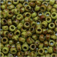 Toho Round Seed Beads 8/0 Y310 - Hybrid Sour Apple Picasso (8 Grams)