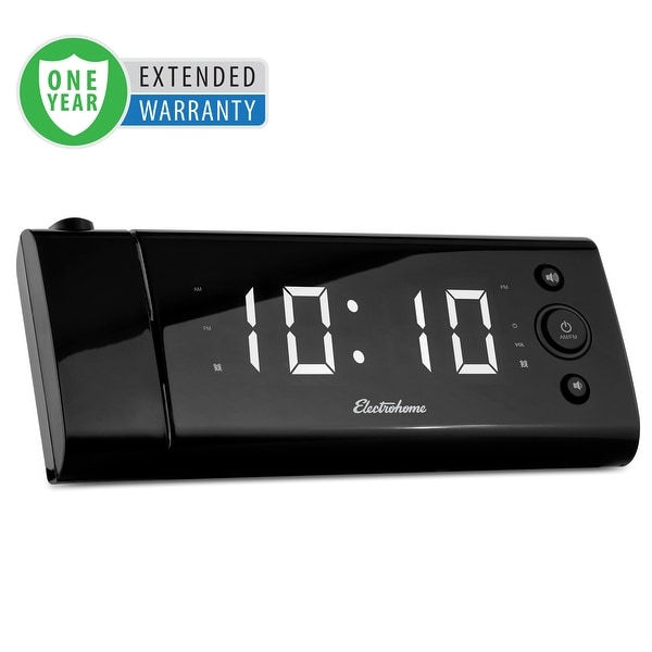 Electrohome USB Charging Alarm Clock Radio for Smartphones with Time Projection - 1 Year Extended Warranty