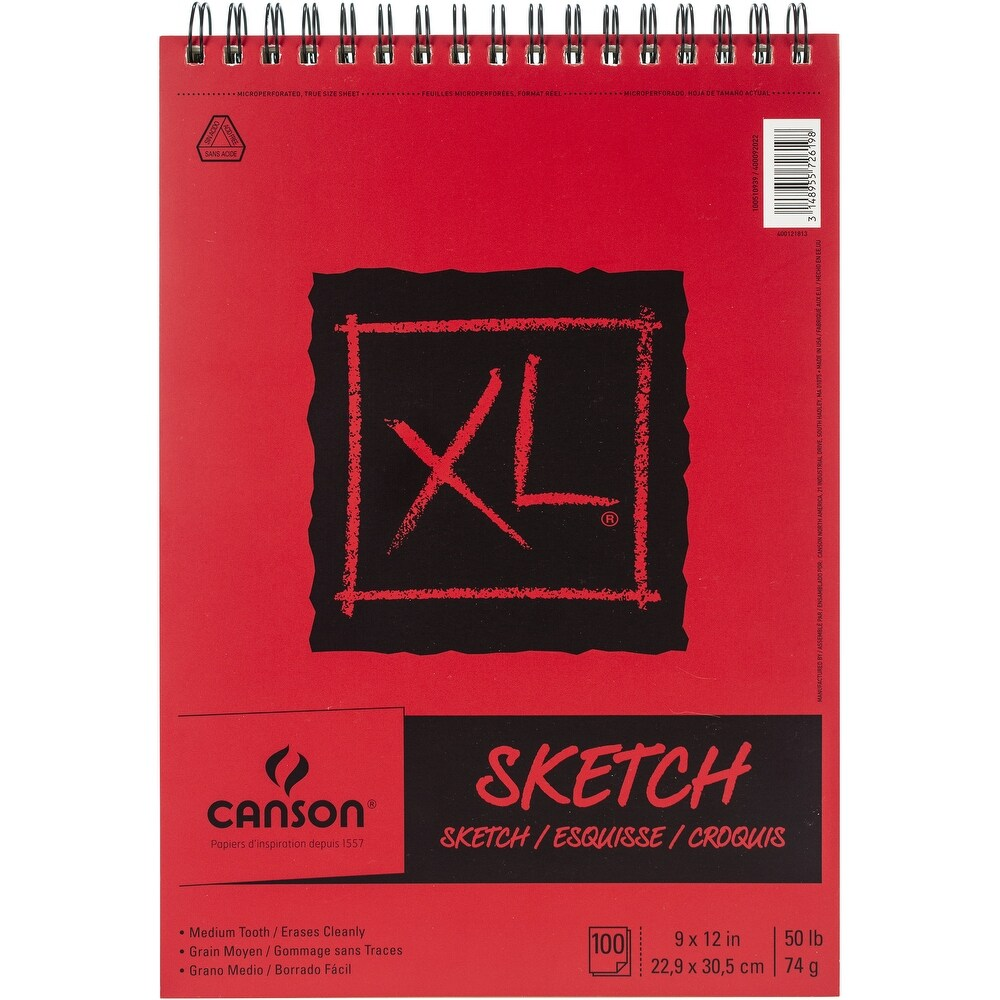 """Canson XL Drawing Paper Pad Wire Bound  9/"""" x 12/""""  70 lb   60 Sheets"""