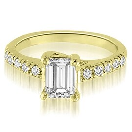 1.20 cttw. 14K Yellow Gold Petite Emerald And Round Cut Diamond Engagement Ring