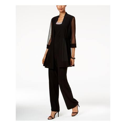 R&M RICHARDS Womens Black 3/4 Sleeve Scoop Neck Top Size 12