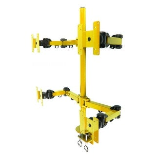 MonMount Heavy Duty Deluxe Yellow Quad LCD Desk Mount Stand Clamp 4 Monitors