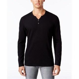 INC International Concepts Men's Alt Ottoman Stripe Split-Neck Deep Black Size 2-Extra Large - 2XL