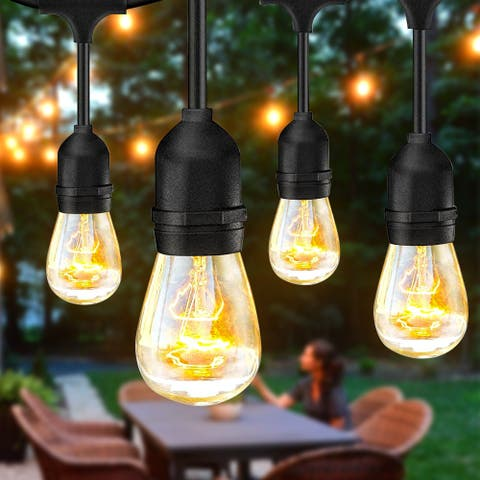 S14 24pcs Light Bulb Outdoor Yard Lamp String Light with Black Lamp Wire - 28 PCS