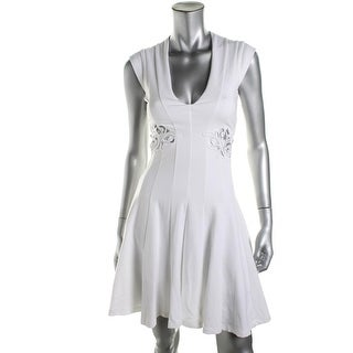 French Connection Womens V-Neck Crochet Trim Cocktail Dress - 6