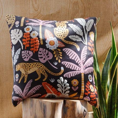 Mirela Textured Jungle Printed Throw Pillow