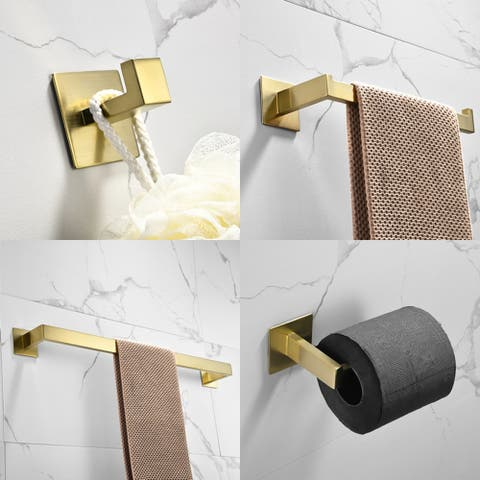 Adhesive Bathroom Accessories Set Towel Bar Holder Rack Robe Hook