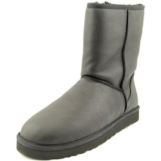 Ugg Australia Classic Short Leather Men  Round Toe Leather Black Winter Boot