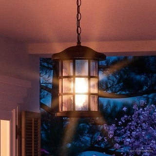 "Luxury Craftsman Outdoor Pendant Light, 15.5""H x 10""W, with Tudor Style, Wrought Iron Design, Parisian Bronze Finish"
