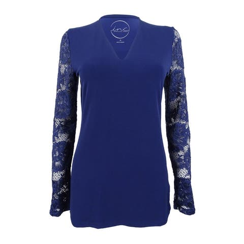 INC International Concepts Women's Lace-Sleeve V-Neck Top