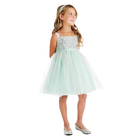 Little Girls Mint Rhinestone Crystal Tulle Party Easter Dress