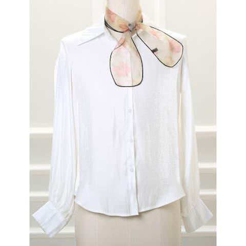 Skinny Organza Scarf Floral Neckerchief Belt Hair Tie - 35.4x4 inches(LxW)