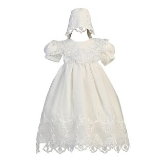 Baby Girls White Embroidered Organza Gown Bonnet Christening Set 3-24M