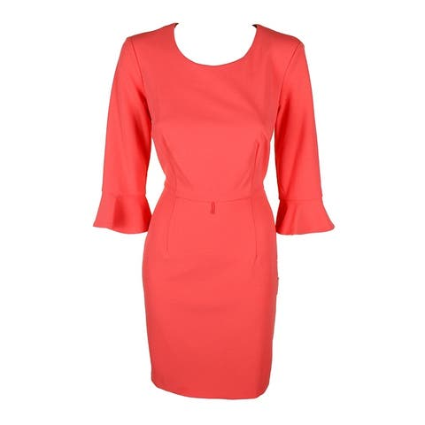 Connected Petite Coral Bell-Sleeve Crepe Sheath Dress 8P