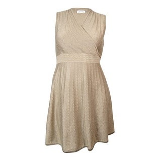 Calvin Klein Women's Metallic Sleeveless Sweater Dress - l