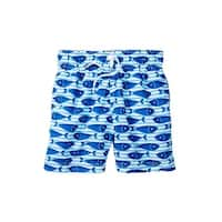 Azul Little Boys Blue Here Fishy Fishy Print Drawstring Swim Shorts