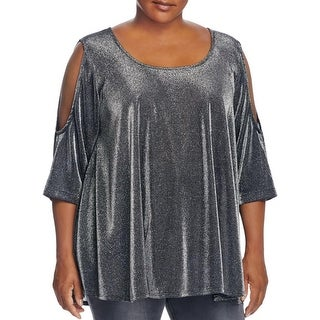 Nally & Millie Womens Plus Blouse Metallic Hi Low