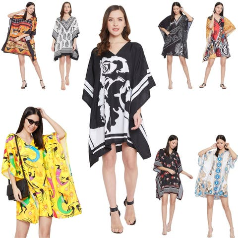 Oussum Casual Dress for Women Plus Size Tunic Tops Short Caftan Beach Cover up Trendy Fashion Mini Dresses with Sleeve