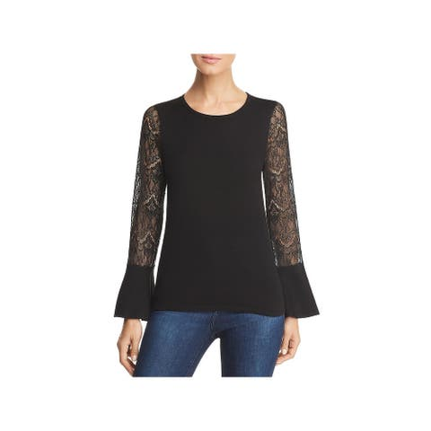 Design History Womens Blouse Lace Bell Sleeve - Black