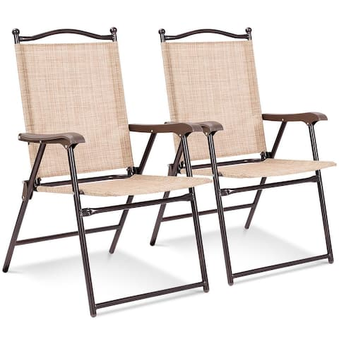 Costway Set of 2 Patio Folding Sling Back Chairs Camping Deck Garden - Set of 2