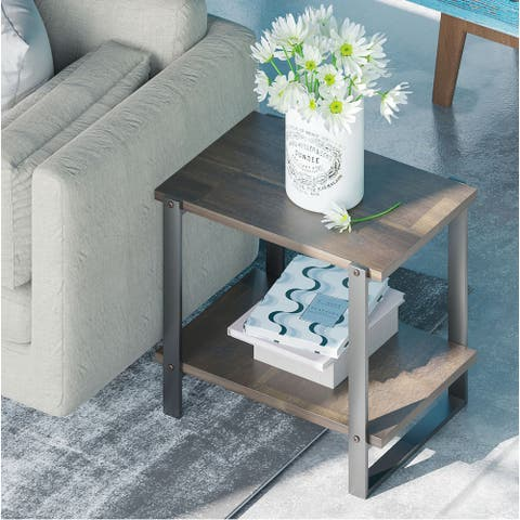 Priage by ZINUS 21 Brown Solid Wood Side Table