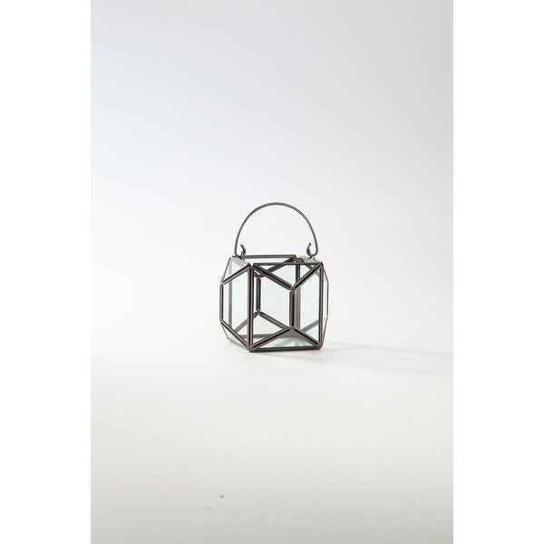 """4.5"""" Clear and Black Terrarium Hanging Glass Planter - N/A"""