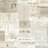 Brewster 2604-21267 Gazette Khaki Vintage Newsprint Wallpaper - khaki newspring - N/A
