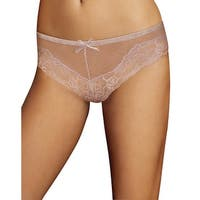 Maidenform Comfort Devotion Mesh and Lace Tanga - Size - 6 - Color - Gloss Ivory Lace Print