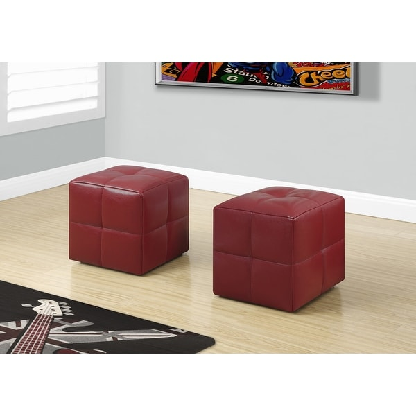 "Two 24"" Red Leather , Foam, and Solid Wood Ottomans"