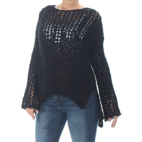 ARIZONA Womens Black Eyelet Long Sleeve Jewel Neck Sweater Size S