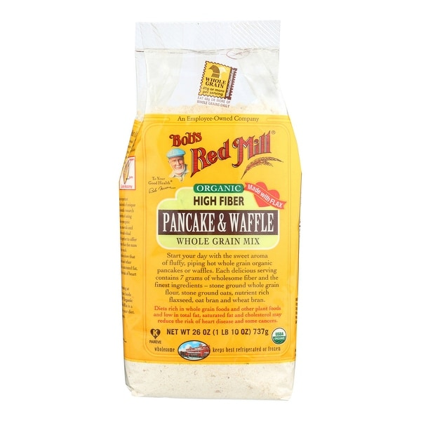 Bob's Red Mill Organic High Fiber Pancake and Waffle Mix - 26 oz - Case of 4
