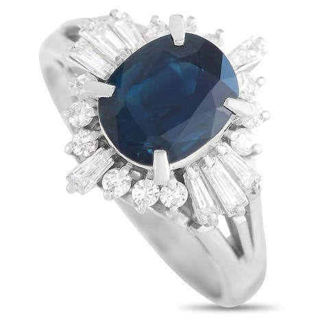 Platinum 0.50 ct Diamond and 2.08 ct Sapphire Ring Size 7