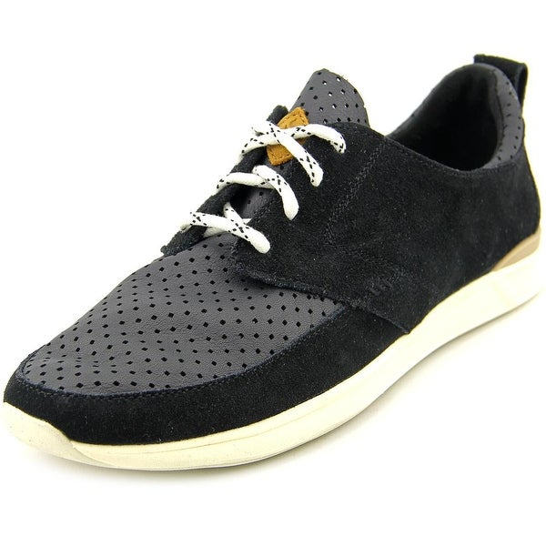 Reef Rover Low Women Round Toe Leather Black Sneakers