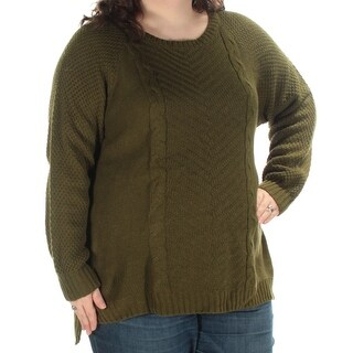 NY COLLECTION $44 Womens New 1398 Green Long Sleeve Sweater 1X Plus B+B