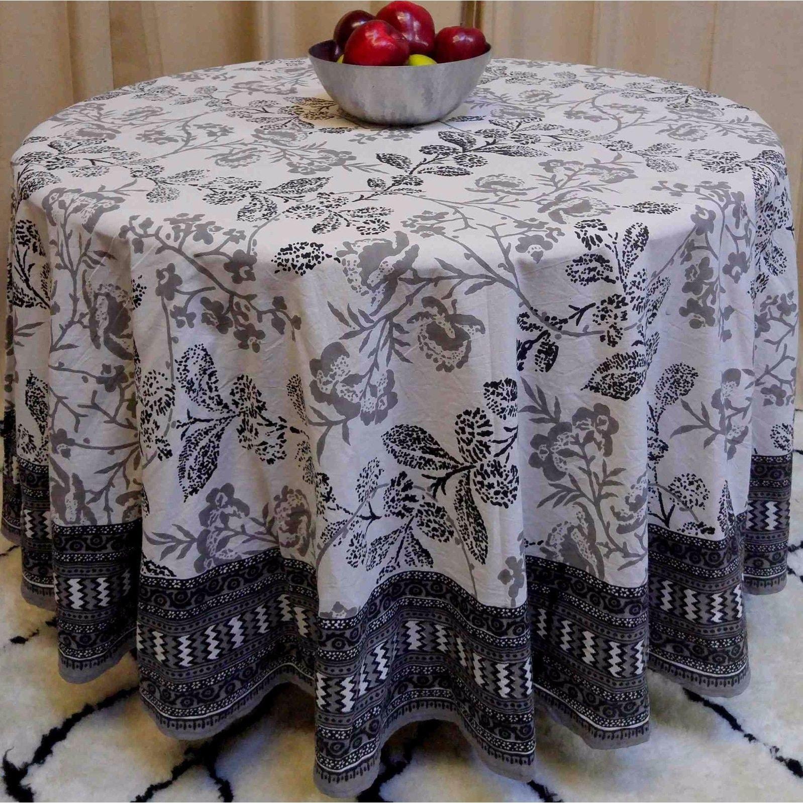 "Handmade 100% Cotton Elegant Floral Tablecloth 90"" Round Gray White - Thumbnail 0"