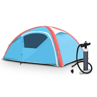 Gymax 3 Person Inflatable Family Tent Camping Waterproof Wind Resistant w/ Bag Pump - Blue + Red + White