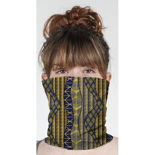 """WRAP BLUE & YELLOW Neck Gaiter By Becky Bailey - 10"""" x 18"""". Opens flyout."""