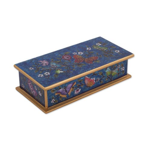 "Handmade Butterfly Jubilee In Cyan Reverse Painted Glass Decorative Box (Peru) - 2"" H x 7.75"" W x 3.9"" D"