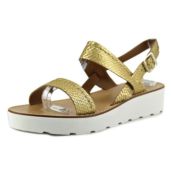 Seychelles Bolder Women Open-Toe Leather Gold Slingback Sandal