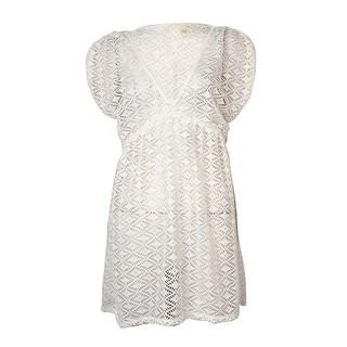 Miken Women's V Neck Crochet Dress Swimsuit Cover (M, White)